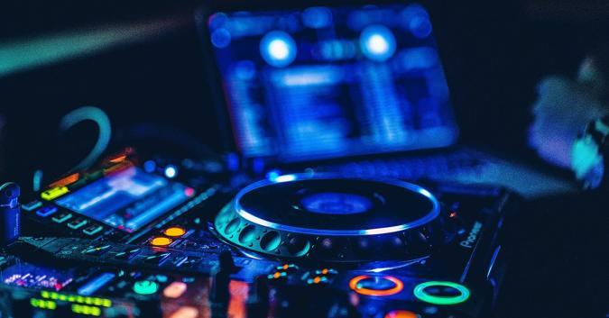 A close-up stock image of DJ eqiupment.