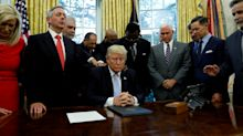 Laying on hands: When Trump needs support, he calls on pastors, and they call on him