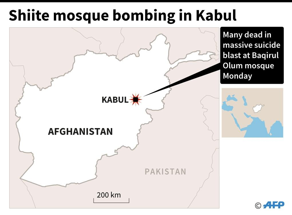 Location of Shiite mosque bombing in Kabul (AFP Photo/Gal Roma)