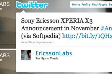 Curious XPERIA X3 tweet by Ericsson Labs makes you wonder