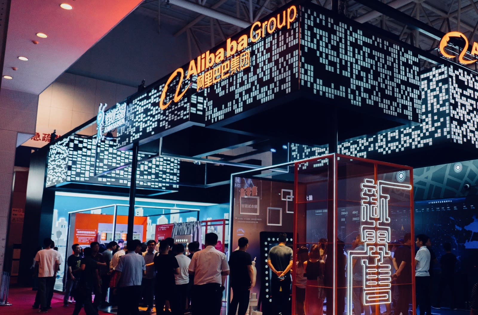 TIANJIN, CHINA - 2018/05/18: Alibaba shows its smart technology in e-commerce to the visitors. The 2nd World Intelligence Congress was held in Tianjin Meijiang Exhibition Center from May 16-18, 2018. (Photo by Zhang Peng/LightRocket via Getty Images)