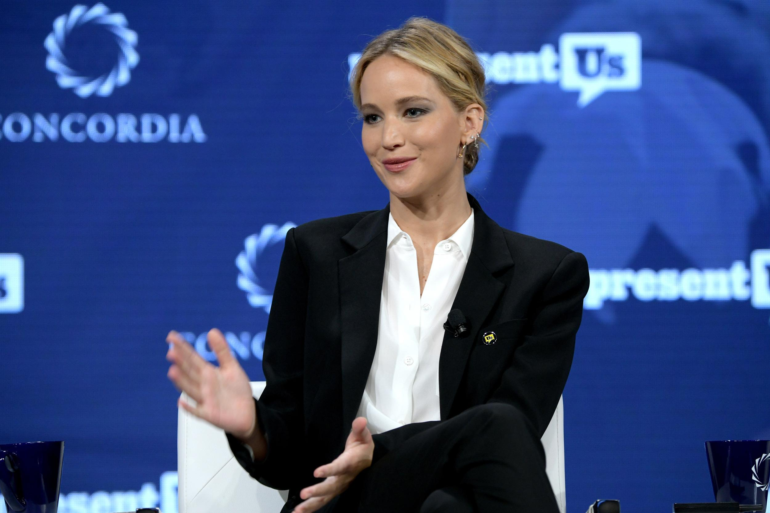 NEW YORK, NY - SEPTEMBER 25:  Actor and Board Member of RepresentUs Jennifer Lawrence speaks onstage during the 2018 Concordia Annual Summit - Day 2 at Grand Hyatt New York on September 25, 2018 in New York City.  (Photo by Leigh Vogel/Getty Images for Concordia Summit)