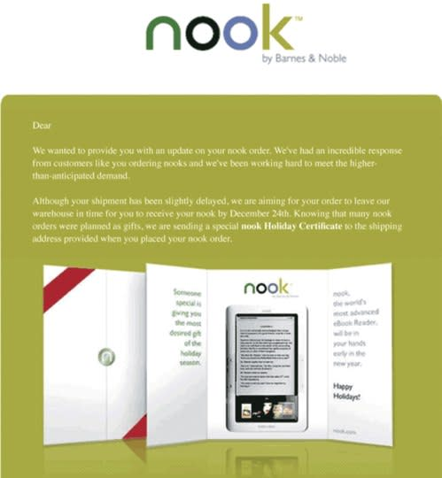 Barnes & Noble giving $100 for Nook pre-orders that miss Christmas