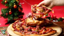Christmas dinner pizza with a gravy-filled Yorkshire pudding is the meal we didn't know we needed