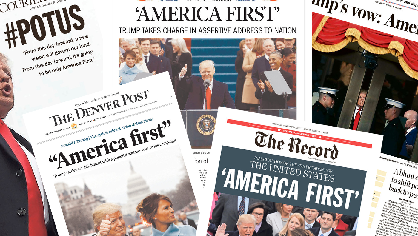 <p>Here's a selection of newspaper front pages addressing the new occupant of the Oval Office. (newseum.org) </p>