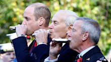 Prince William jokes his hip flask was switched with Jägermeister at Submariners' Remembrance Service