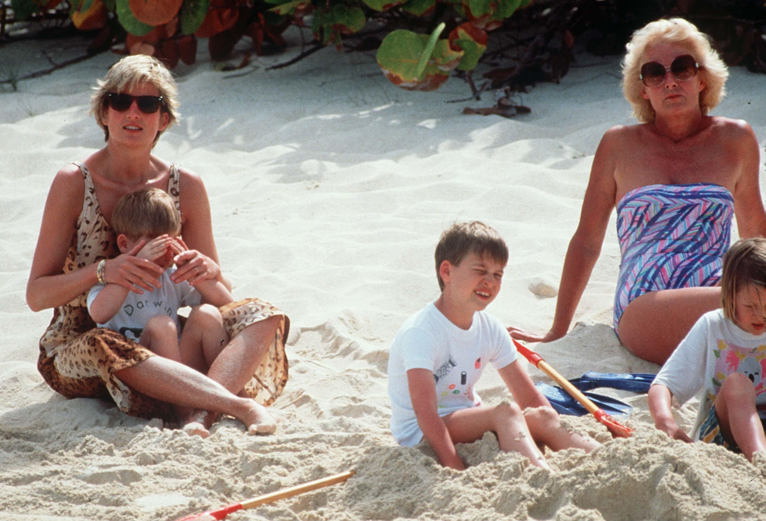 BRITISH VIRGIN ISLANDS - APRIL 11:  Princess Diana With Her Mother Frances Shand-kydd And Her Sons, William And Harry, Enjoying A Spring Holiday On The Island Of Necker. Prince Harry Is Sitting On His Mother's Lap.  (Photo by Tim Graham/Getty Images)