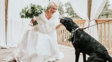 Bride's photoshoot with beloved dog goes viral