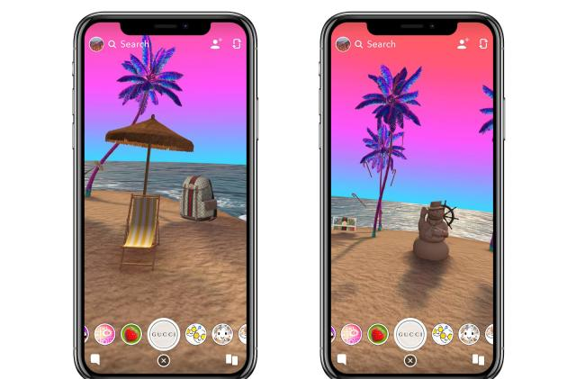 Snapchat's latest Portal Lens takes you to a Gucci-filled beach