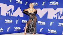 Miley Cyrus shines in a sheer Mugler gown on the 2020 MTV VMAs red carpet
