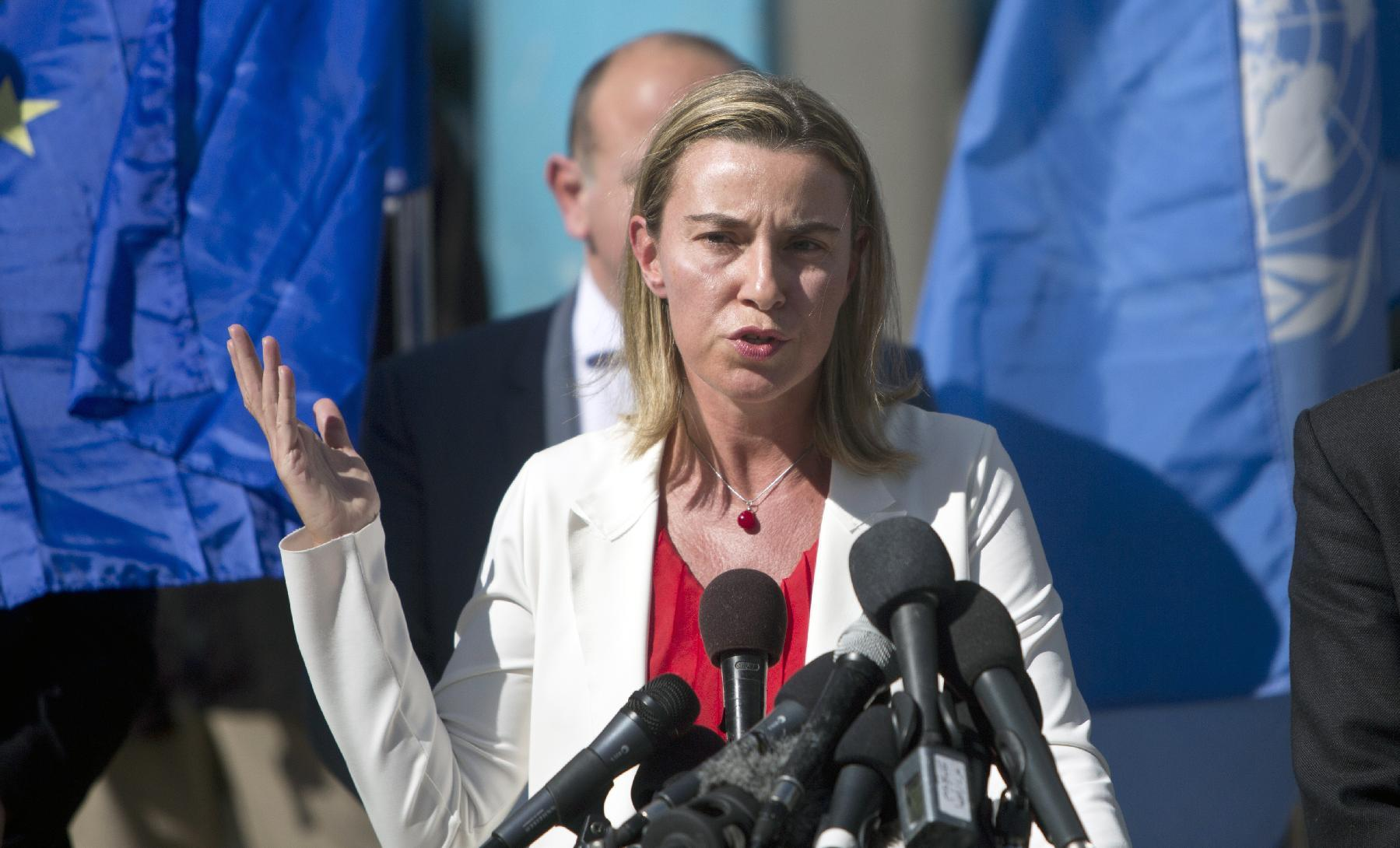 EU foreign affairs chief Federica Mogherini speaks on a visit to a UN-run Bahrain boys school sheltering displaced Palestinian families, on November 8, 2014 in Gaza City