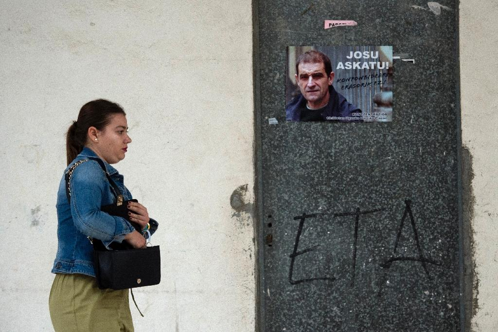 A poster calling for the release of Josu Ternera, one of the most influential leaders of former Basque separatist group ETA, in the Spanish village of Miraballes