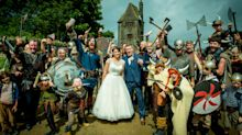 Newlywed couple photobombed by 200 VIKINGS at local beauty spot