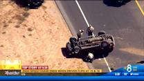 High-speed chase ends in rollover on I-15
