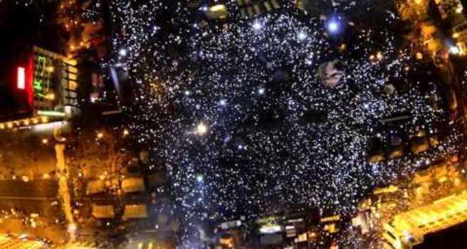 An estimated 200,000 people turned out in Kiev on Saturday, December 14, for a pro-European Union protest. This aerial view of the scene, taken with a camera mounted on a drone, was uploaded by a local photographer on December 15 Credit: Юра Якимець
