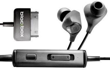 Blackbox i10 noise cancelling earbuds tap into iPod / iPhone dock connector for power, pleasure