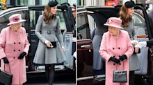 Girls' day out: Queen and Duchess of Cambridge are all smiles at joint engagement