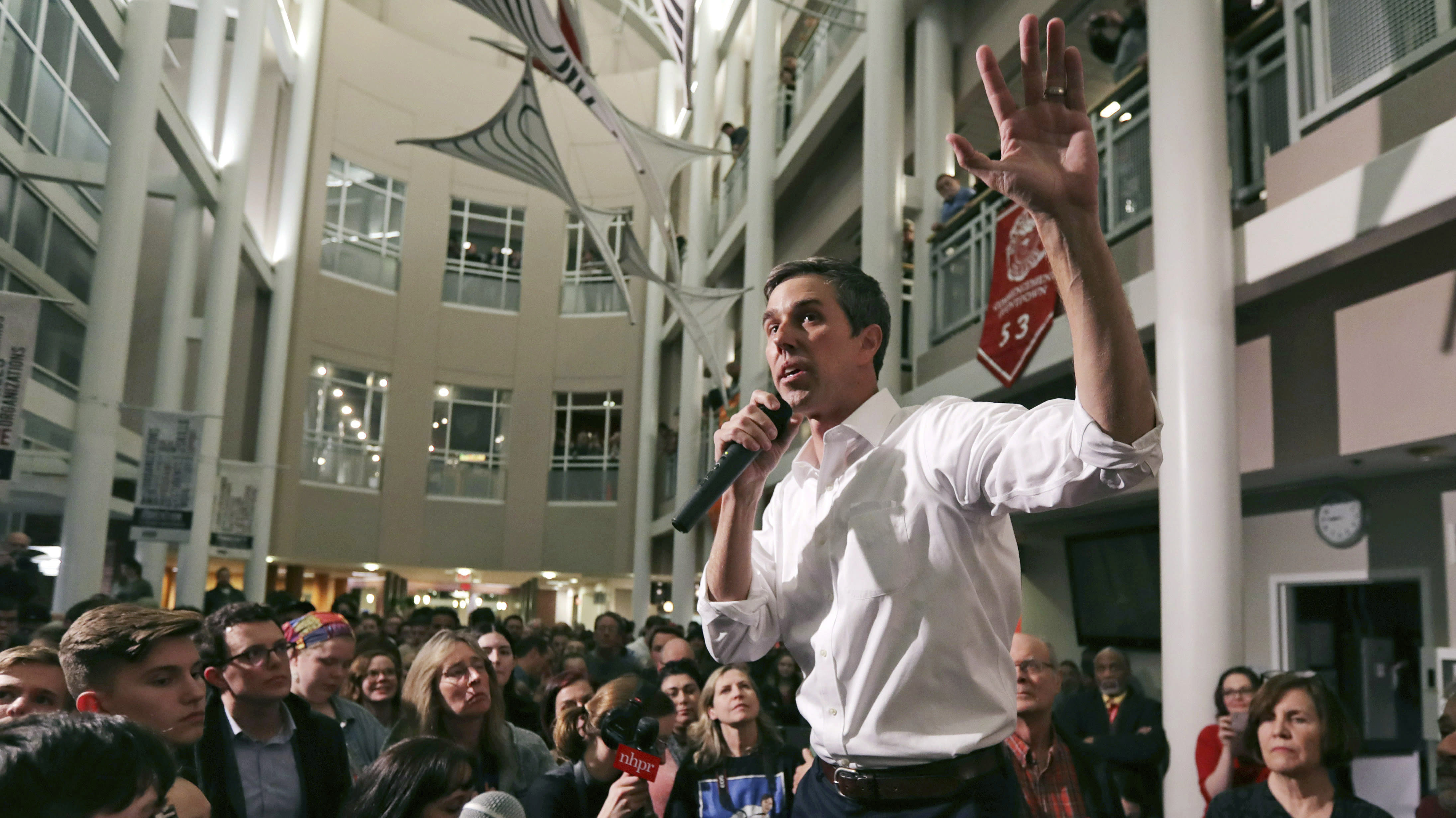 FILE - In this March 19, 2019 file photo, Democratic presidential candidate Beto O'Rourke gestures during a campaign stop at Keene State College in Keene. After a mass shooting in his hometown, Democrat Beto O'Rourke has again remade his White House bid. (AP Photo/Charles Krupa)