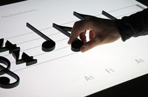 Noteput music table plays the notes as you lay them down (video)