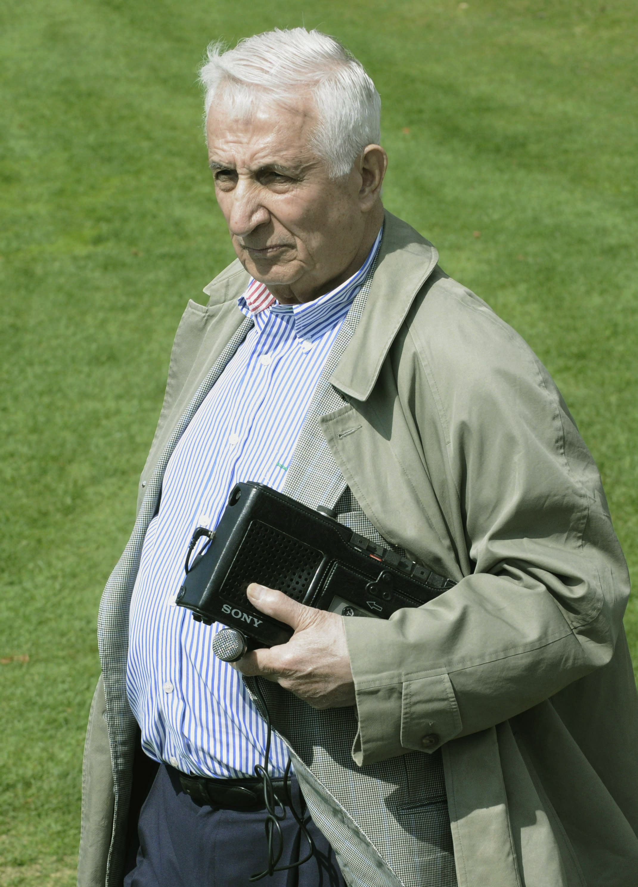 File-In this May 1, 2009, file photo Minneapolis Star Tribune columnist Sid Hartman is shown at the Minnesota Vikings football rookie minicamp in Eden Prairie, Minn. The Minnesota sports columnist and radio personality, Hartman, an old-school home team booster who once ran the NBA's Minneapolis Lakers and achieved nearly as much celebrity as some of the athletes he covered, died Sunday, Oct. 18, 2020. He was 100. (AP Photo/Jim Mone, File)