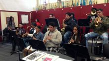 Compton's Centennial High School marching band rehearses