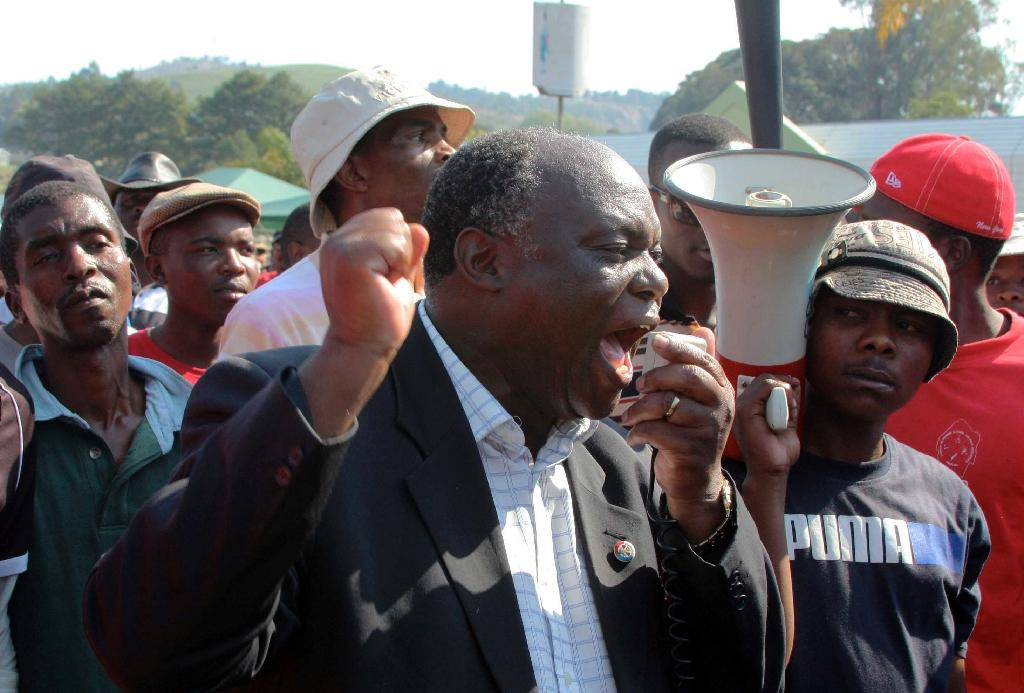 Mario Masuku, the leader of Swaziland's banned People's United Democratic Front addresses a crowd of protesters in Mbabane on Sepetember 9, 2011