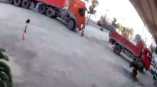 Six-year-old in China avoids serious injuries after being run over by truck