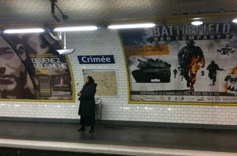 French Bad Company 2 ads ape military ad slogan
