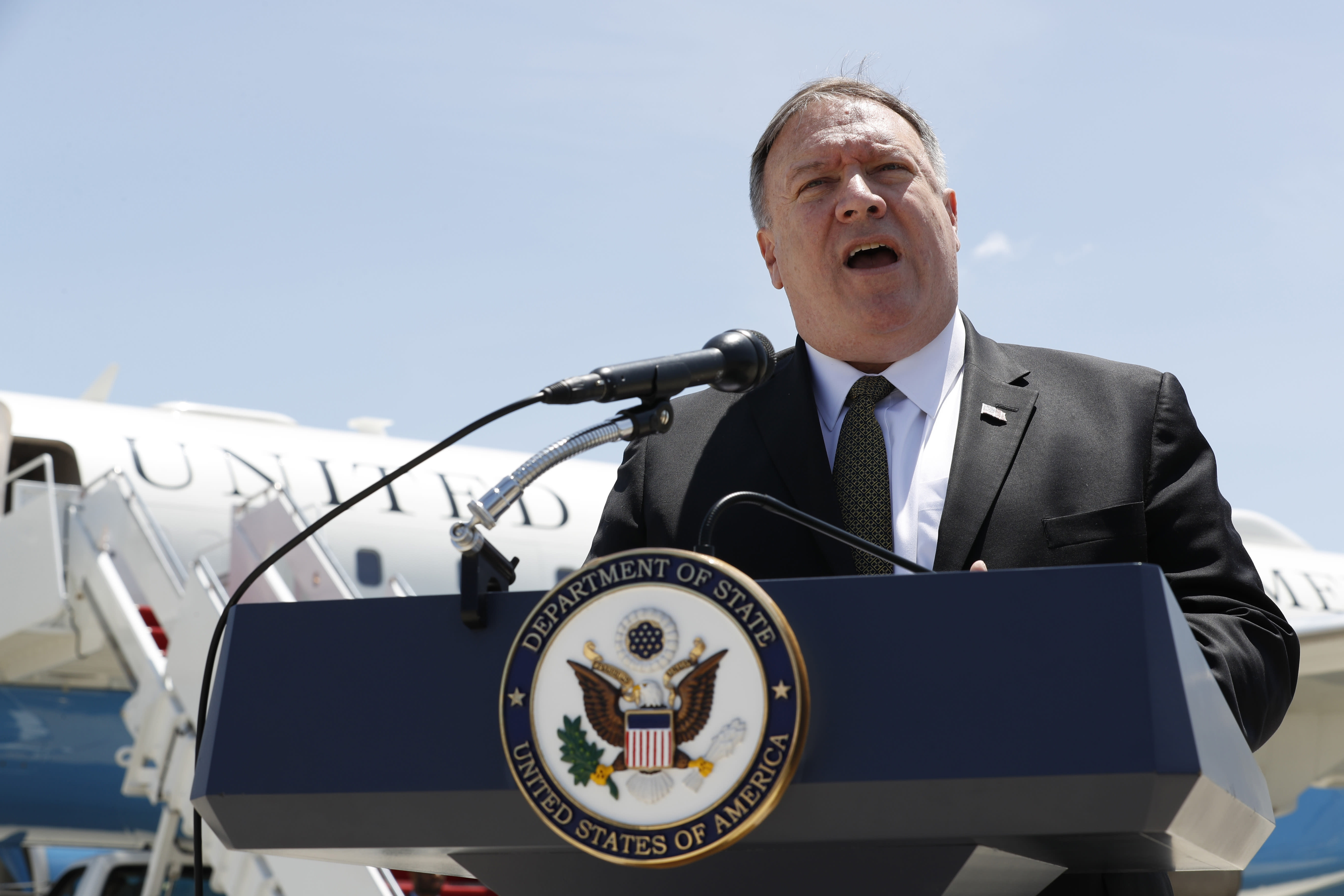 Secretary of State Mike Pompeo speaks to the media at Andrews Air Force Base, Md., Sunday, June 23, 2019, before boarding a plane headed to Jeddah, Saudi Arabia. (AP Photo/Jacquelyn Martin, Pool)