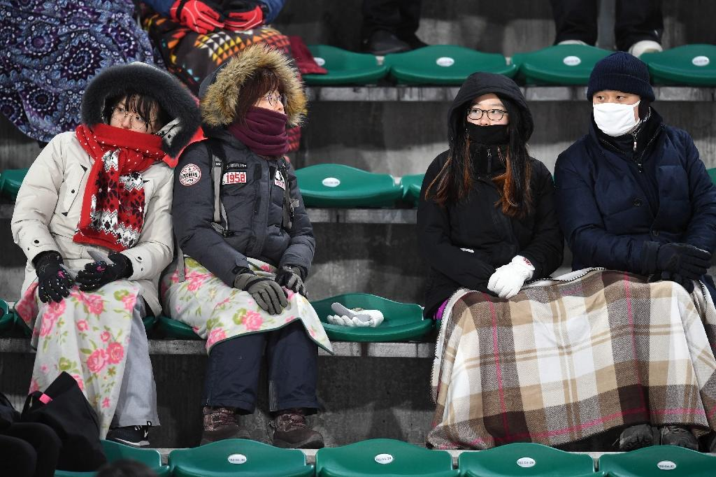 Life has been tough for competitors in the cold, windy conditions -- and also for spectators. (AFP Photo/Christof STACHE )