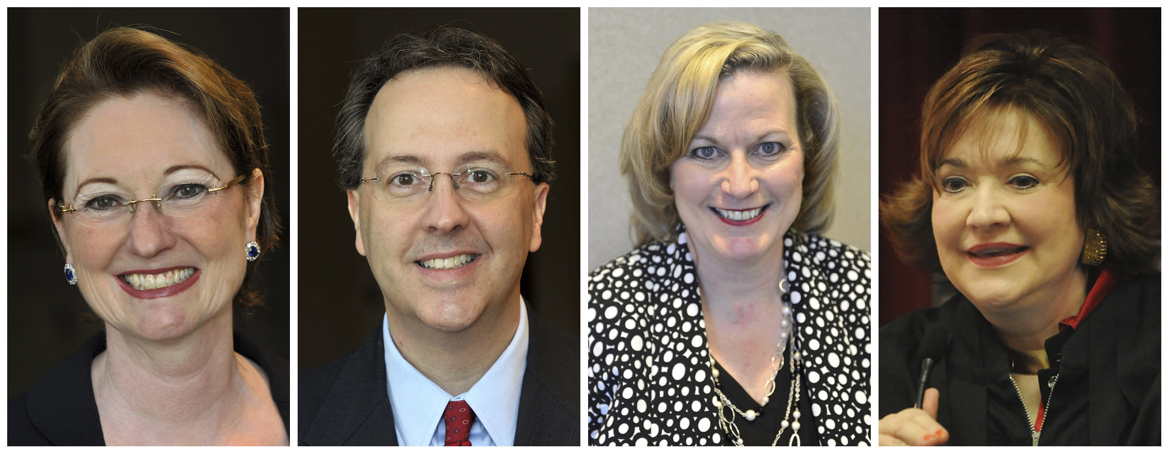 This combination of photos shows West Virginia state Supreme Court justices, from left, Robin Davis on Oct. 3, 2012, Allen Loughry on Oct. 3, 2012, Beth Walker on March 16, 2016 and Margaret Workman on Dec. 29, 2008. The West Virginia House of Delegates is considering impeachment articles against all four justices. (Courtesy of the Charleston Gazette-Mail and The Daily Mail via AP)