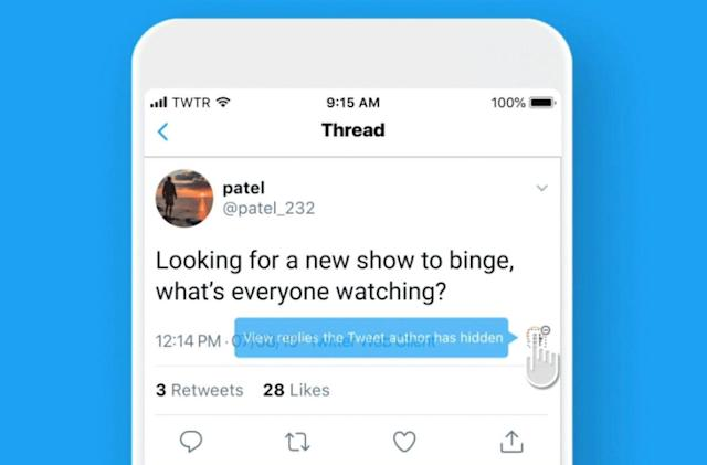 Twitter now lets everyone hide replies to their tweets