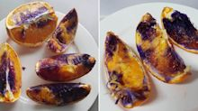 Oranges turning purple after being cut open leave experts baffled