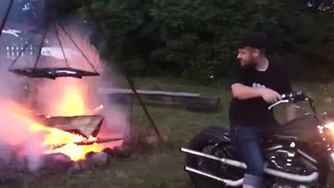 Starting a Fire With a Motorcycle!