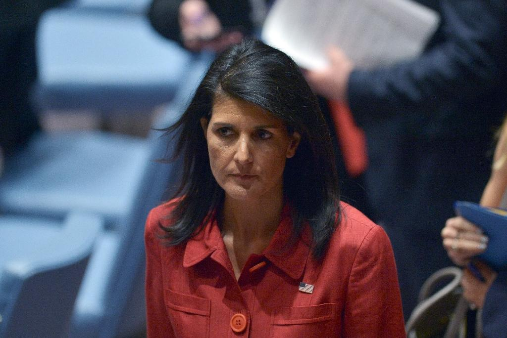 US Ambassador to the United Nations Nikki Haley at the UN headquarters in New York on April 7, 2017 (AFP Photo/Jewel SAMAD )