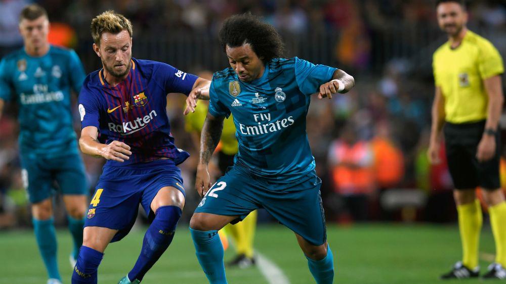 Marcelo hace la 'foquinha' en el Camp Nou