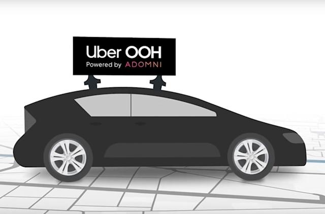 Uber is testing rooftop ads on its ridesharing fleet