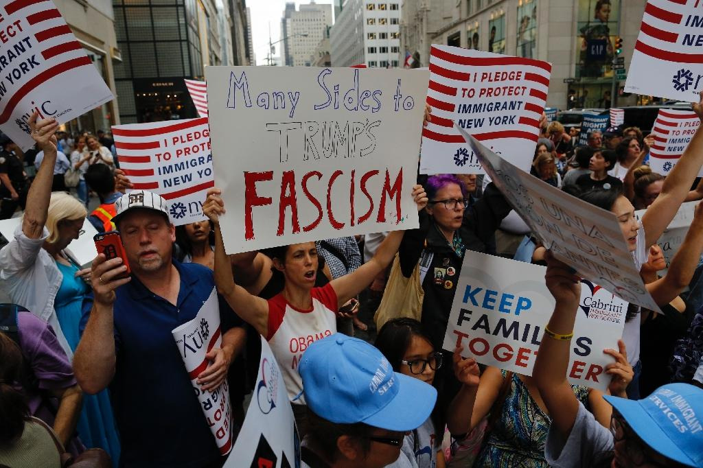 Protesters have marched outside Trump Tower since the president returned to his New York home earlier this week (AFP Photo/Eduardo MUNOZ ALVAREZ)