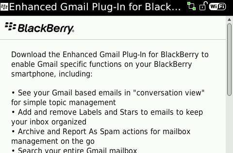 Enhanced Gmail Plug-in for BlackBerry now in testing