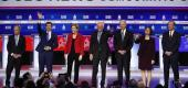 Candidates at the Democratic presidential primary debate on Feb. 25. (Patrick Semansky/AP)