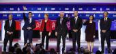 Candidates at the Democratic presidential primary debate on Feb. 25. (Patrick Semansky/AP)