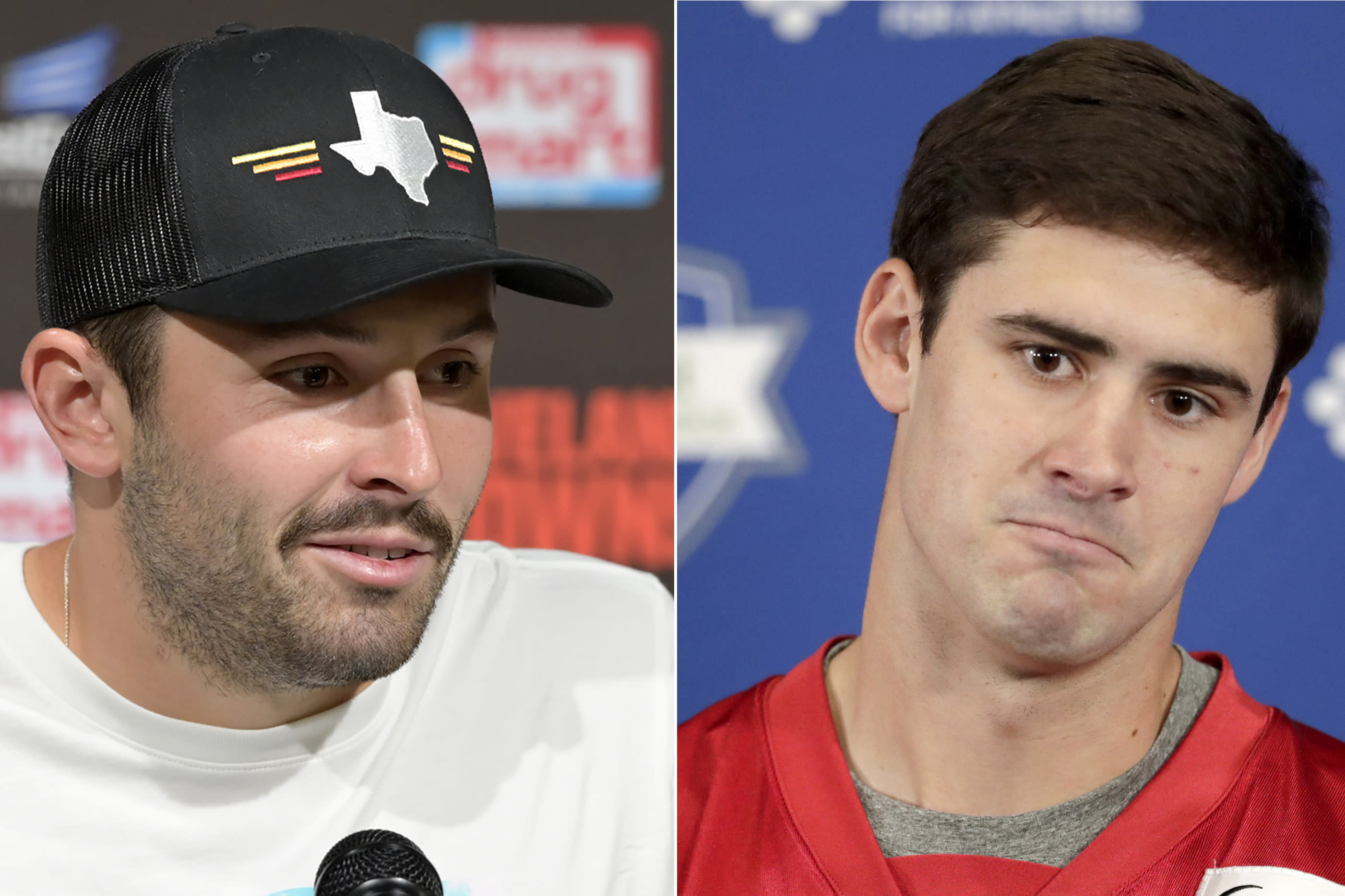 FILE - At left, in an Aug. 8, 2019, file photo, Cleveland Browns quarterback Baker Mayfield answers questions after an NFL preseason football game against the Washington Redskins in Cleveland. At right, in a May 3, 2019, file photo, New York Giants' Daniel Jones talks to reporters during NFL football rookie camp in East Rutherford, N.J. Mayfield said he reached out to rookie QB Jones after making some harsh comments about the first-round pick in an interview. Mayfield admitted Wednesday, Aug. 21, 2019, that he told GQ he was surprised the New York Giants selected Jones, but that he didnt mean any disrespect toward Jones and that some of his comments were taken out of context. (AP Photo/File)