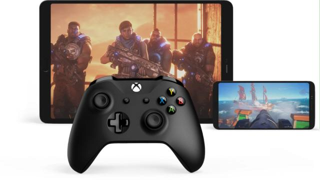 An Xbox controller, plus games on two devices.