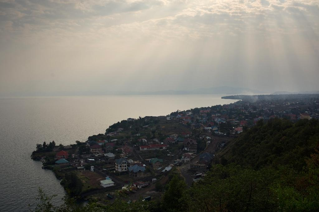 A view over Lake Kivu and Goma, the capital of North Kivu province in the east of the Democratic Republic of the Congo, is seen on August 1, 2013