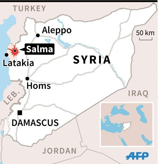 Map of Syria locating the rebel bastion of Salma in Latakia province. 45 x 47 mm (AFP Photo/Valentina Breschi)