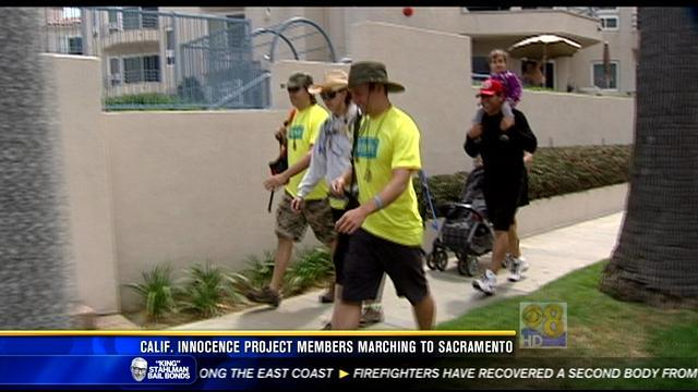 Innocence Project members marching to Sacramento