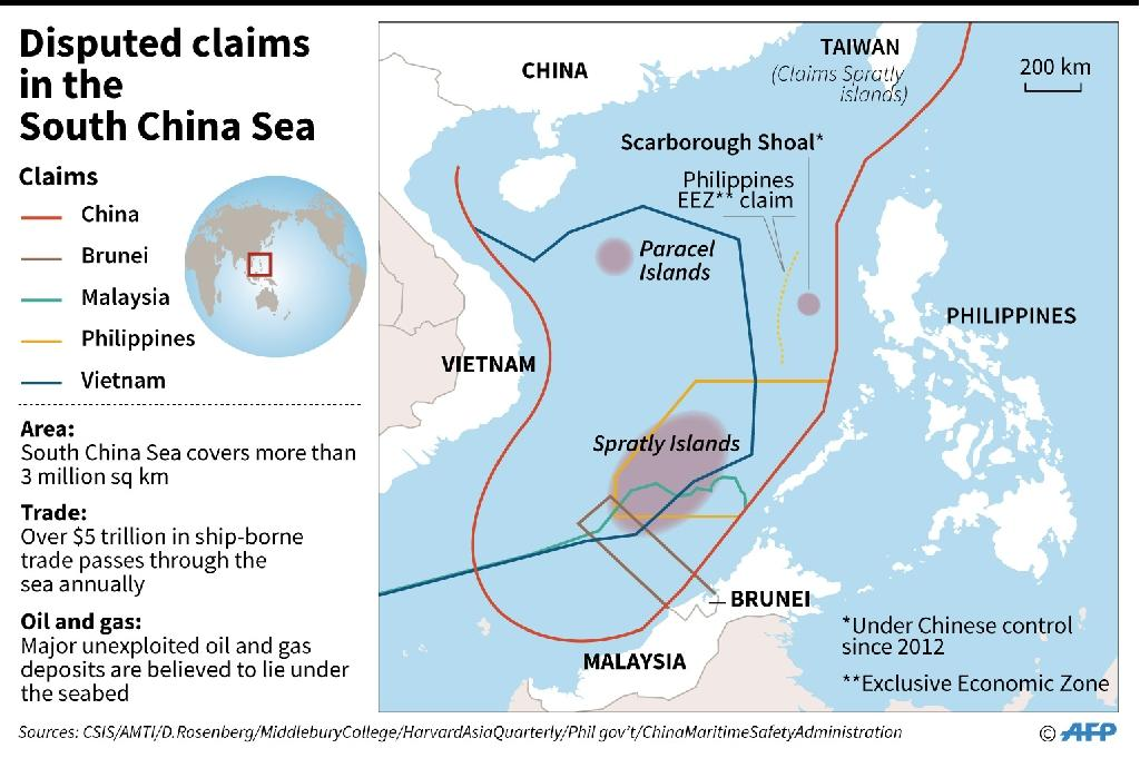 China claims almost all of the strategically vital waters in the South China Sea, where the Philippines, Vietnam, Malaysia, Brunei and Taiwan also have claims (AFP Photo/)