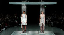 Hussein Chalayan Melted Dresses Under Showers in Paris