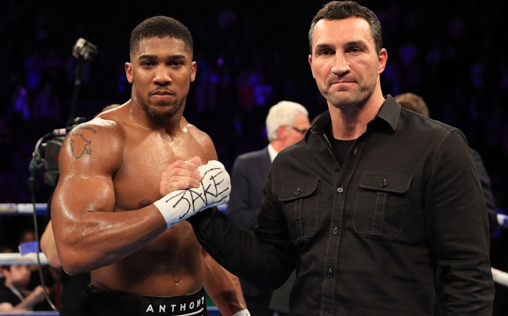 Anthony Joshua (left) and Wladimir Klitschko will meet in the ring at Wembley on Saturday night  - Getty Images Sport