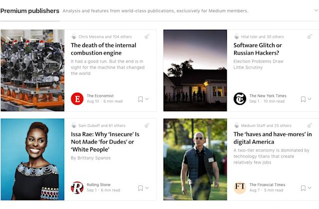 Medium adds Bloomberg and other publications to subscription service